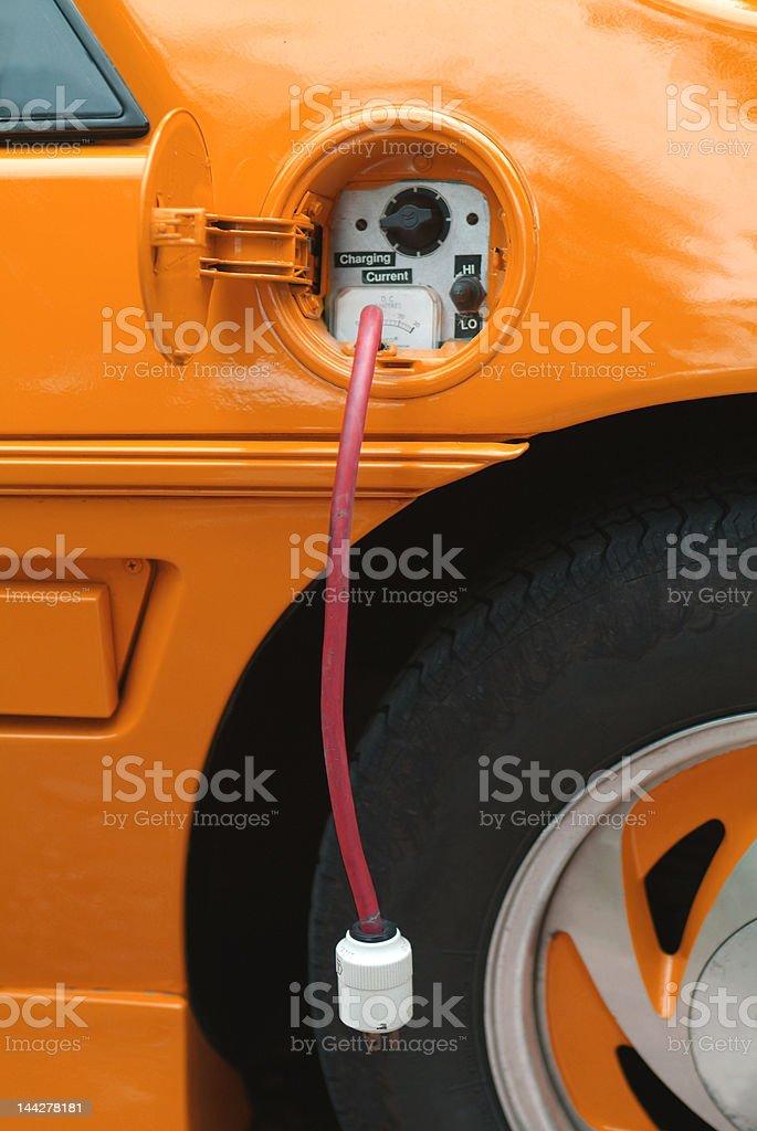 electric car orange stock photo