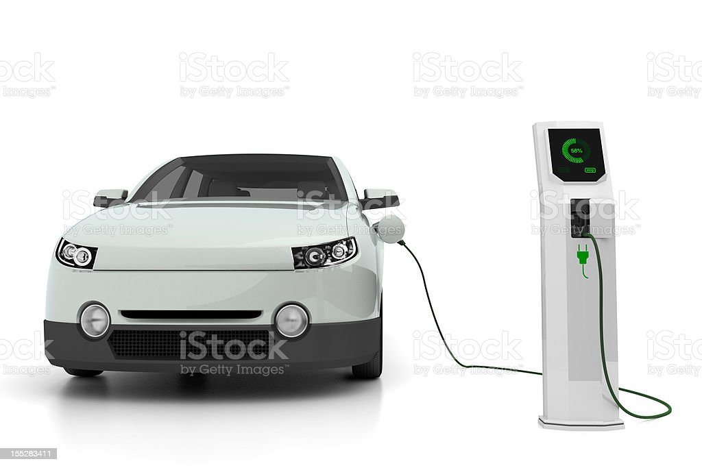 Electric car plugged into the charging station stock photo