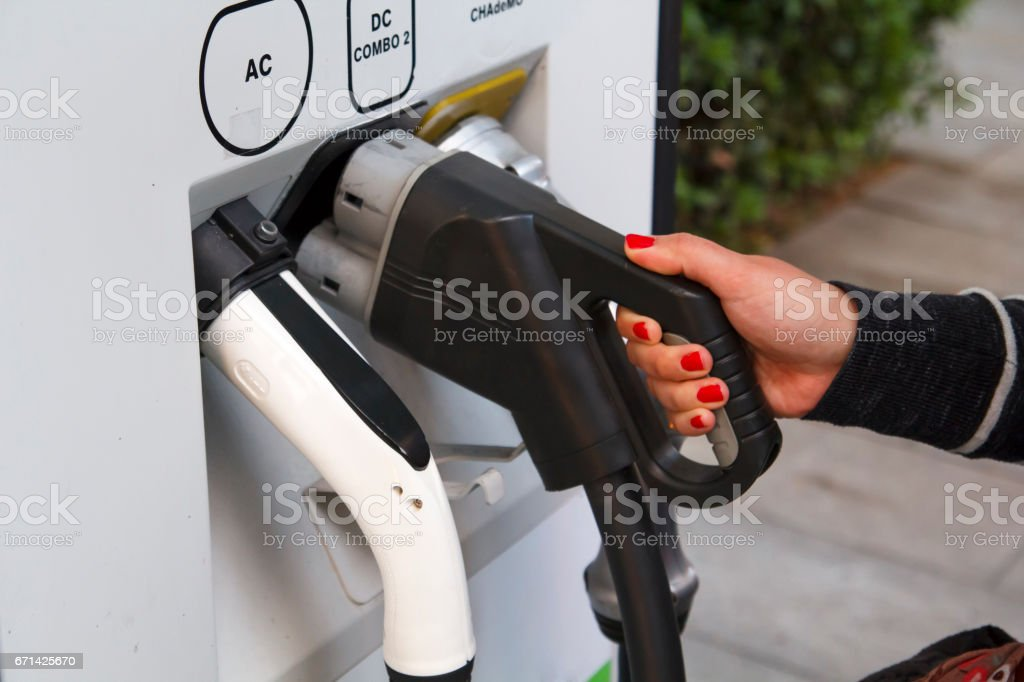 Electric car recharge stock photo