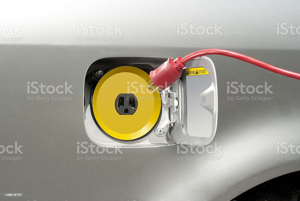Electric car recharging royalty-free stock photo