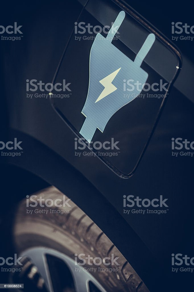 Electric car sign stock photo