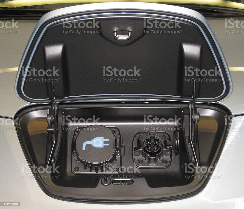 Electric Car: Two Plug Standards for Power Input royalty-free stock photo