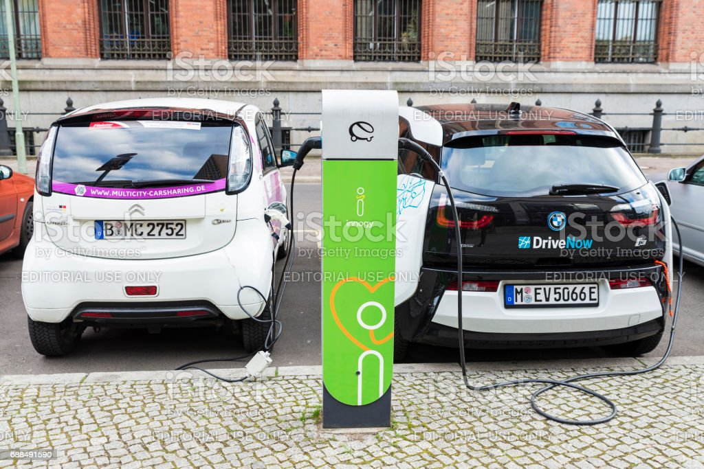 Electric cars recharging the batteries in Berlin, Germany stock photo