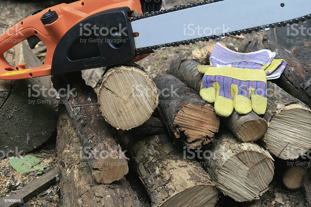 Electric chainsaw royalty-free stock photo