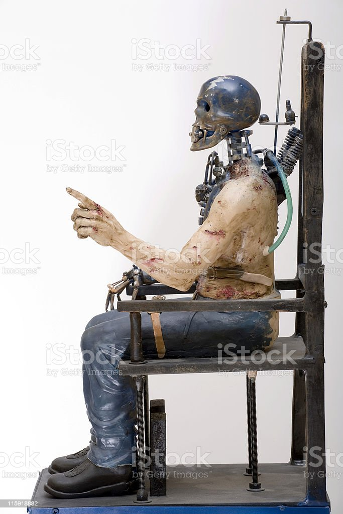 Electric chair and last question stock photo