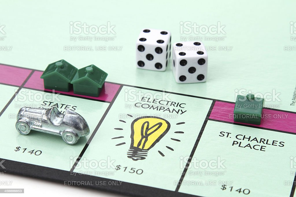 Electric Company space on Monopoly game board stock photo