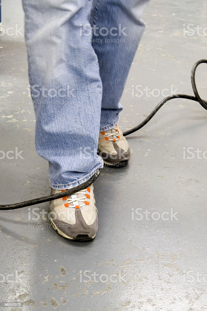 Electric Cord Tripping Hazard stock photo