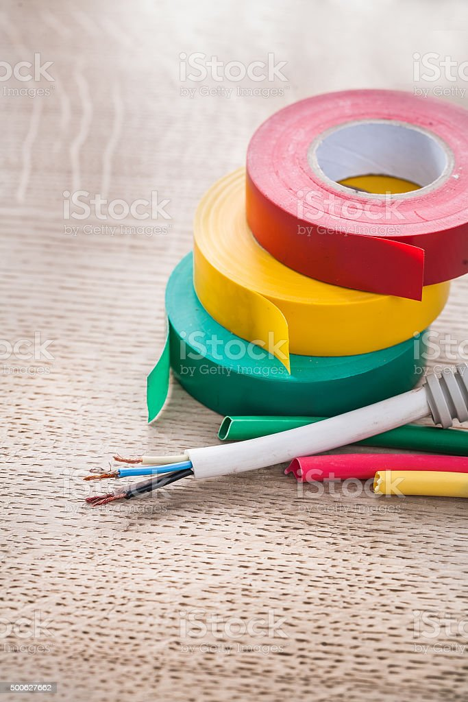 Electric corrugated tube cables rolls of insulation tapes electr stock photo
