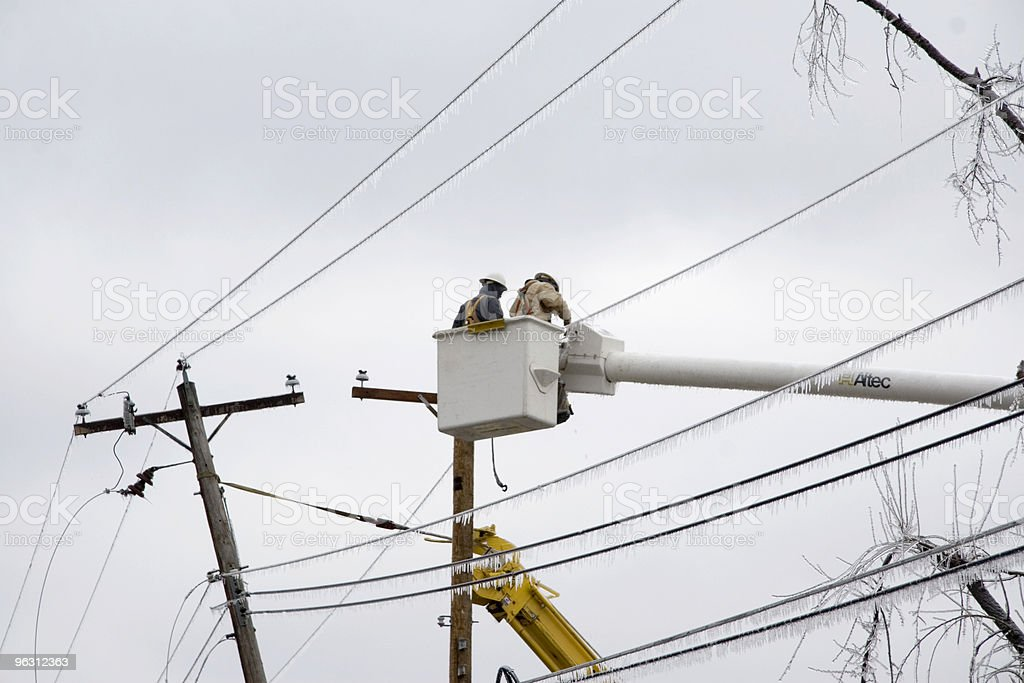 Electric Crews Work to Restore Power royalty-free stock photo