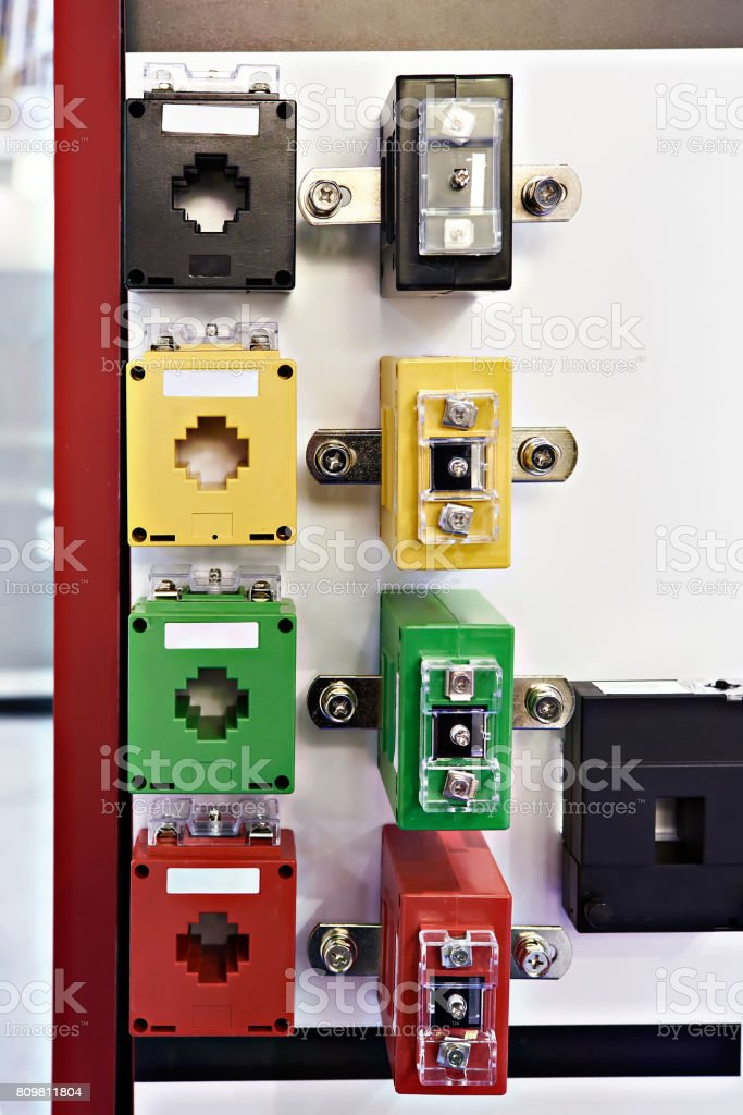 Electric current transformers stock photo