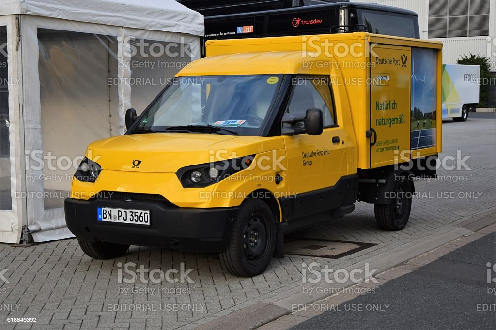 Electric Deutsche Post vehicle on the motor show stock photo