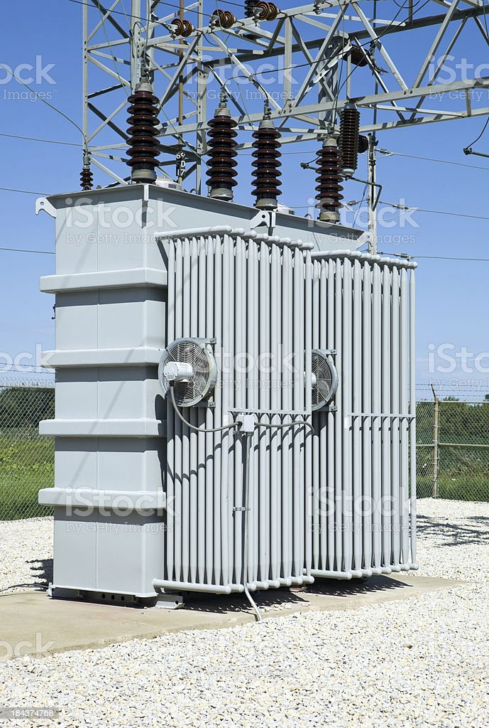 Electric Distribution Substation Transformer stock photo