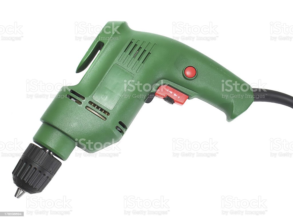 Electric drill isolated on white background stock photo