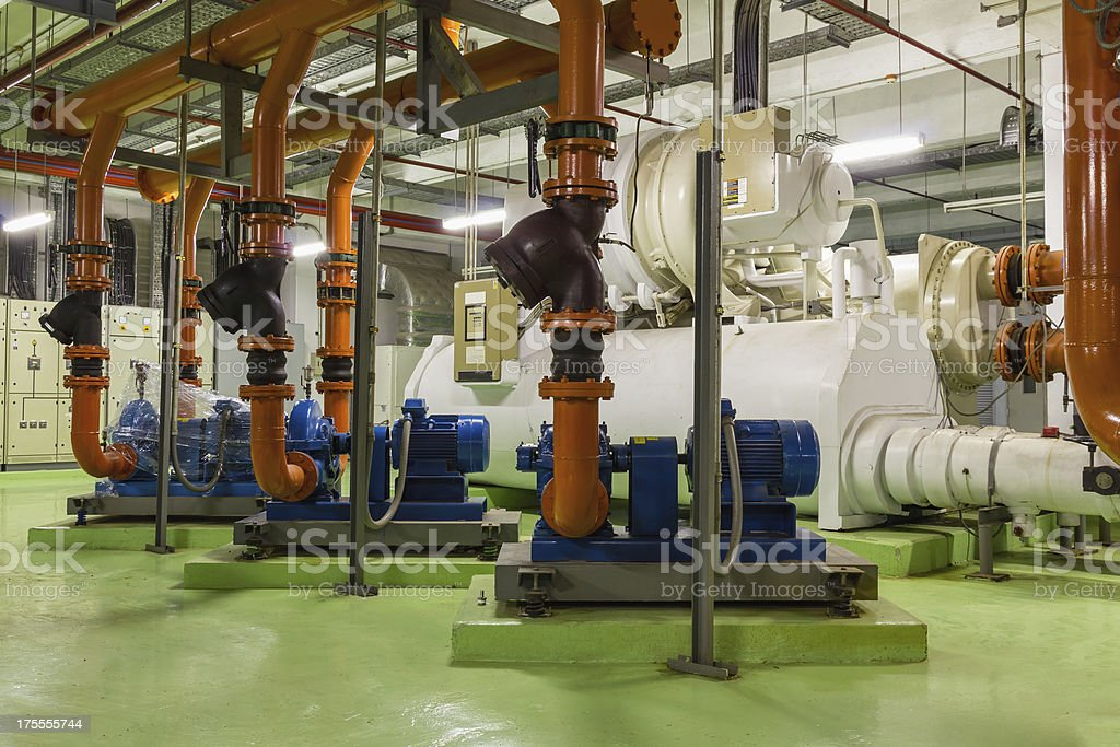 Electric driven building cooling chiller stock photo