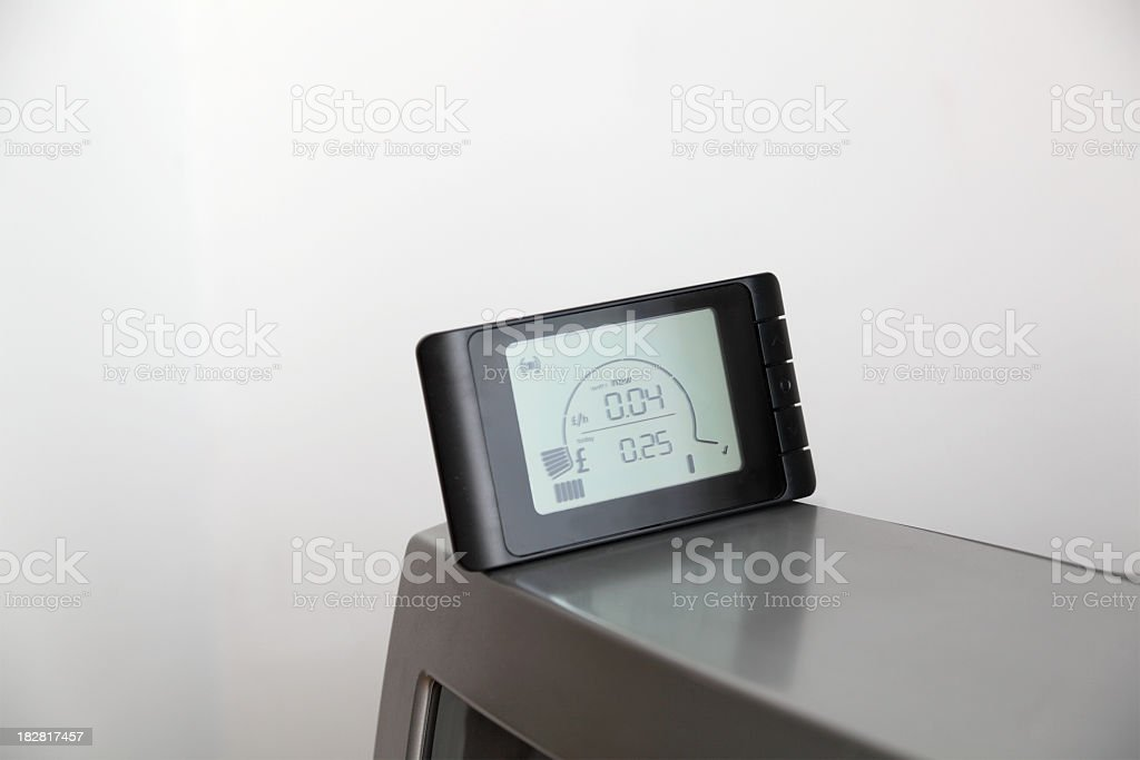 electric energy monitor sitting on TV royalty-free stock photo