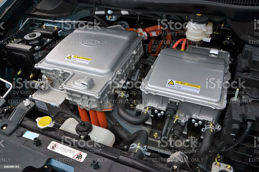 Electric engine in BYD vehicle stock photo