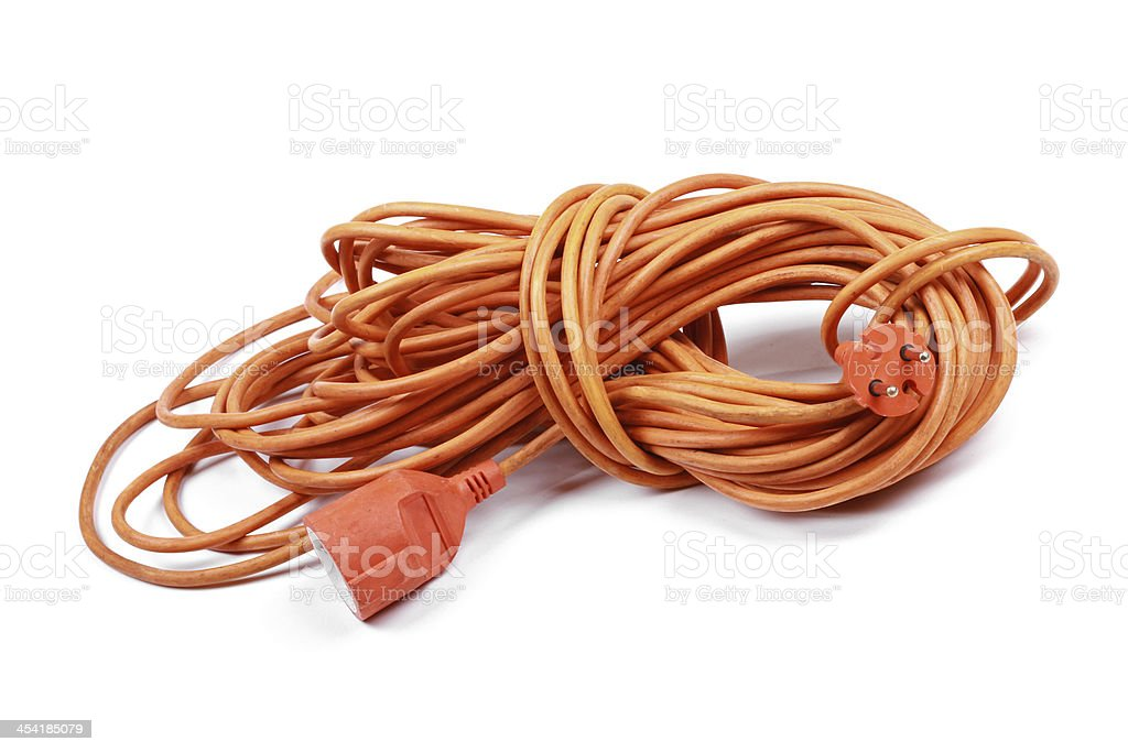 electric extension cord isolated on white stock photo