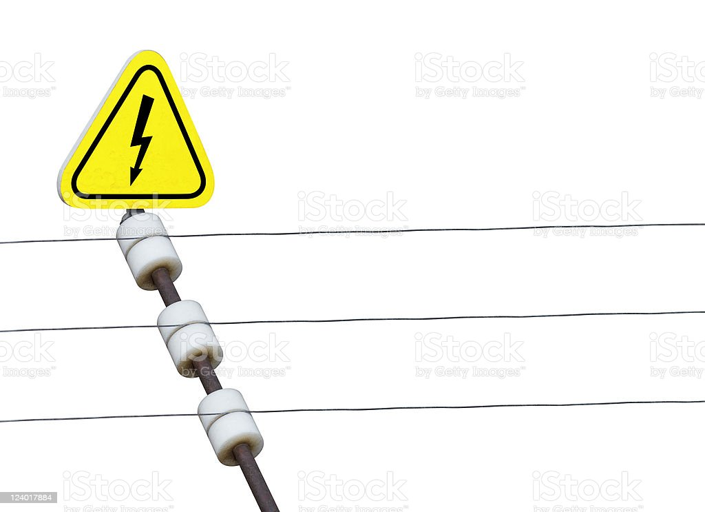 electric fence and high voltage sign stock photo