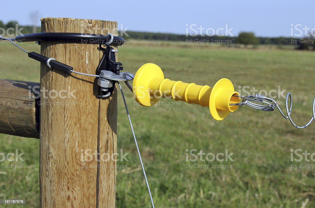electric fence gate stock photo