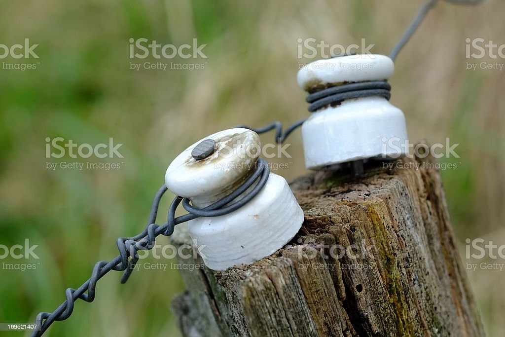 Electric fence in focus stock photo