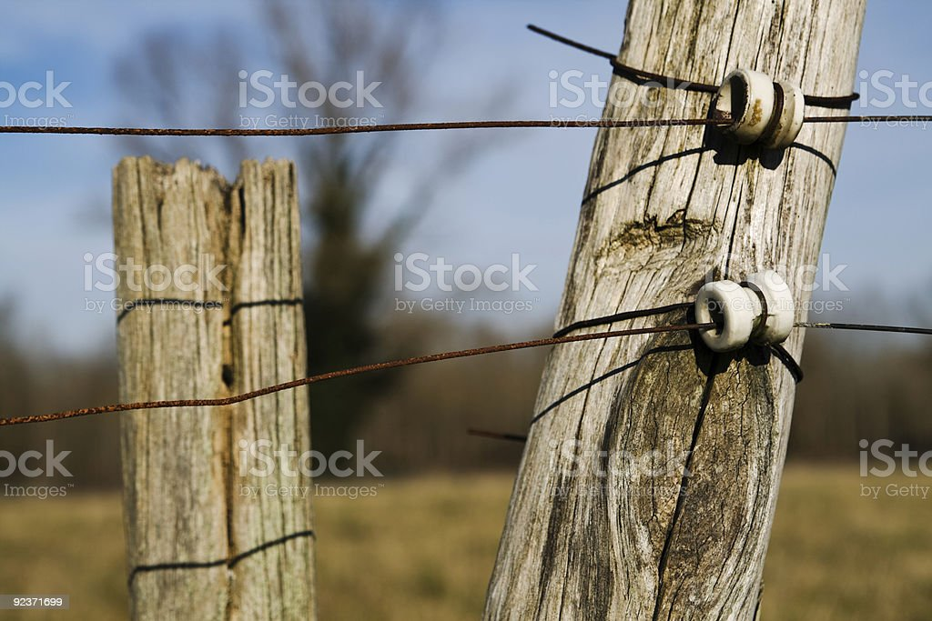 Electric fence. stock photo