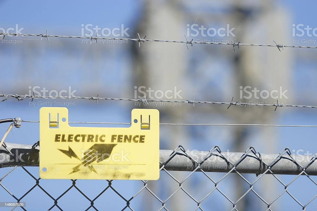 Electric Fence Sign stock photo