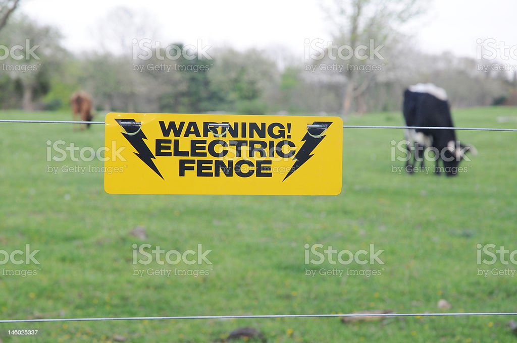 Electric Fence Warning stock photo