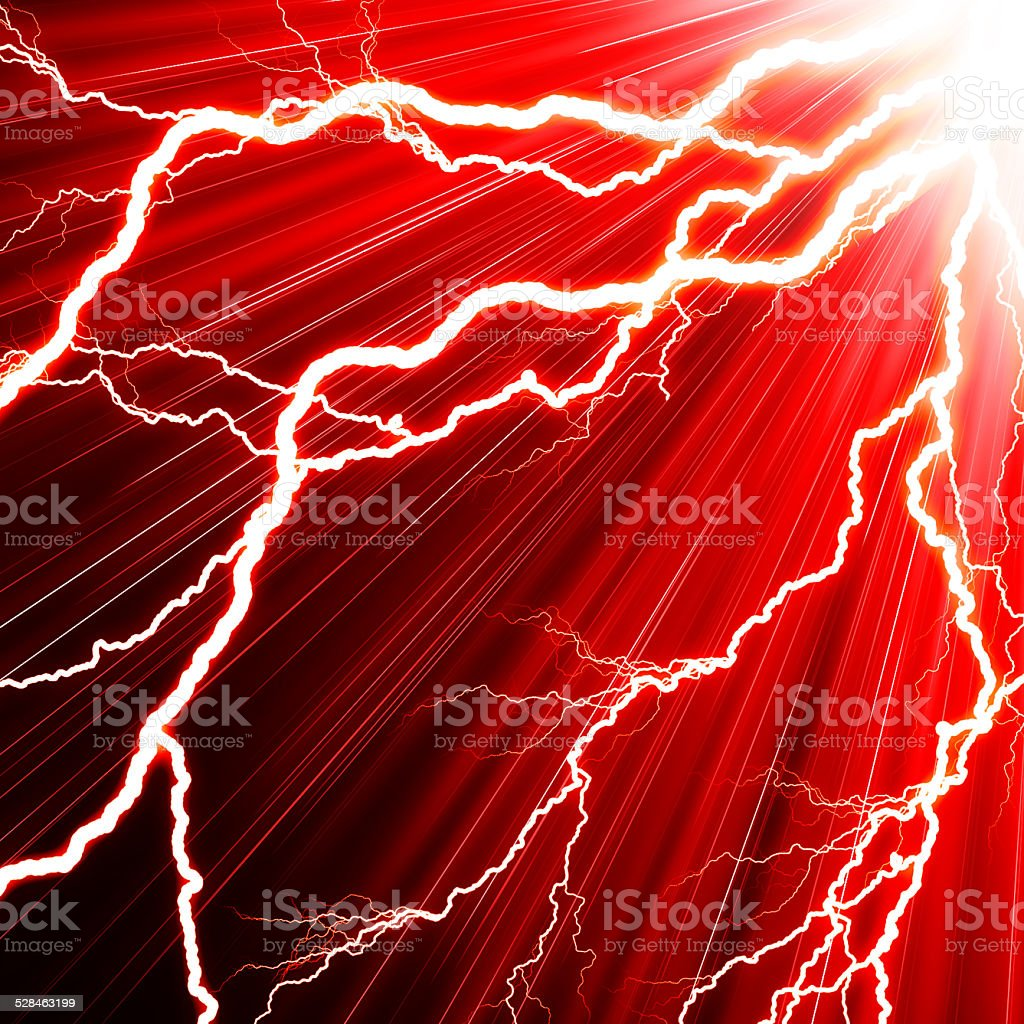Electric flash of lightning on a red background stock photo