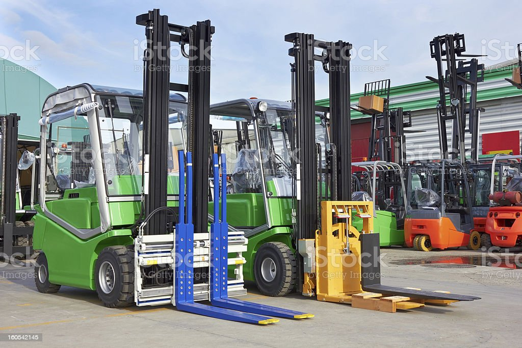 Electric forklift stackers royalty-free stock photo