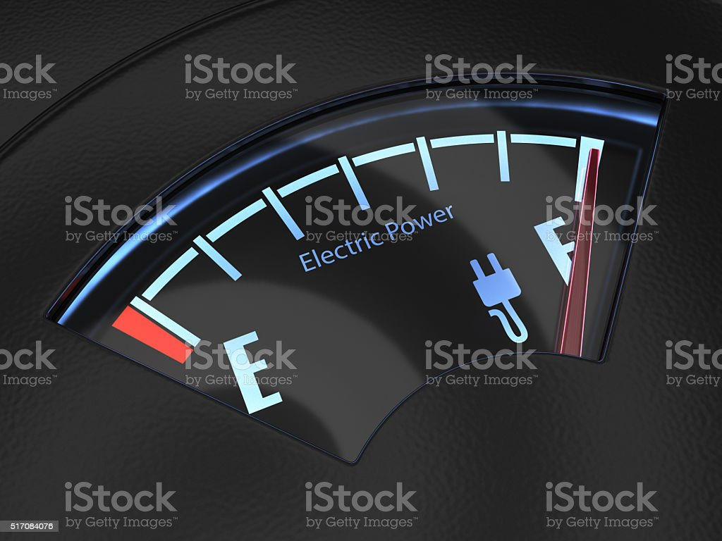 Electric fuel gauge indicating full battery charge stock photo