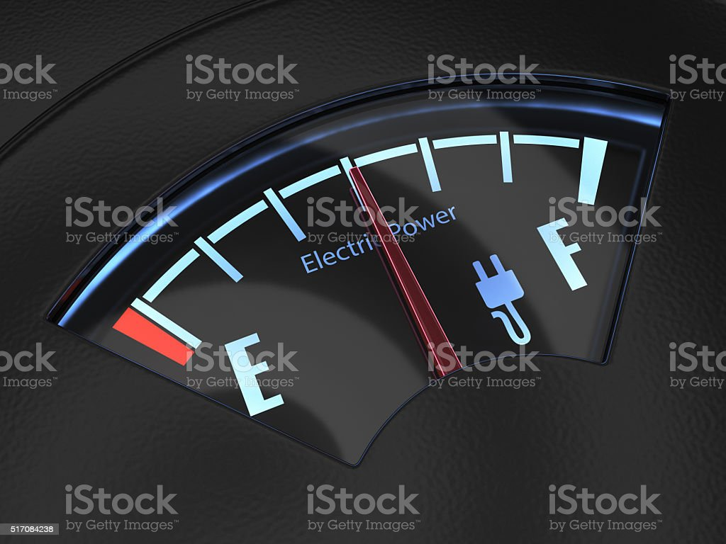 Electric fuel gauge with the needle indicating a middle battery stock photo