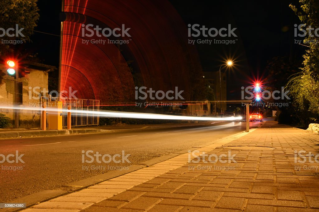 Electric gate, long exposure stock photo