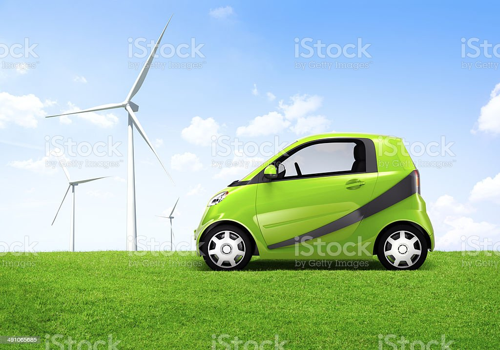 Electric Green Car in the Outdoor stock photo