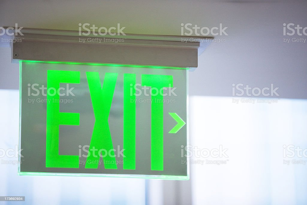 Electric green exit sign royalty-free stock photo