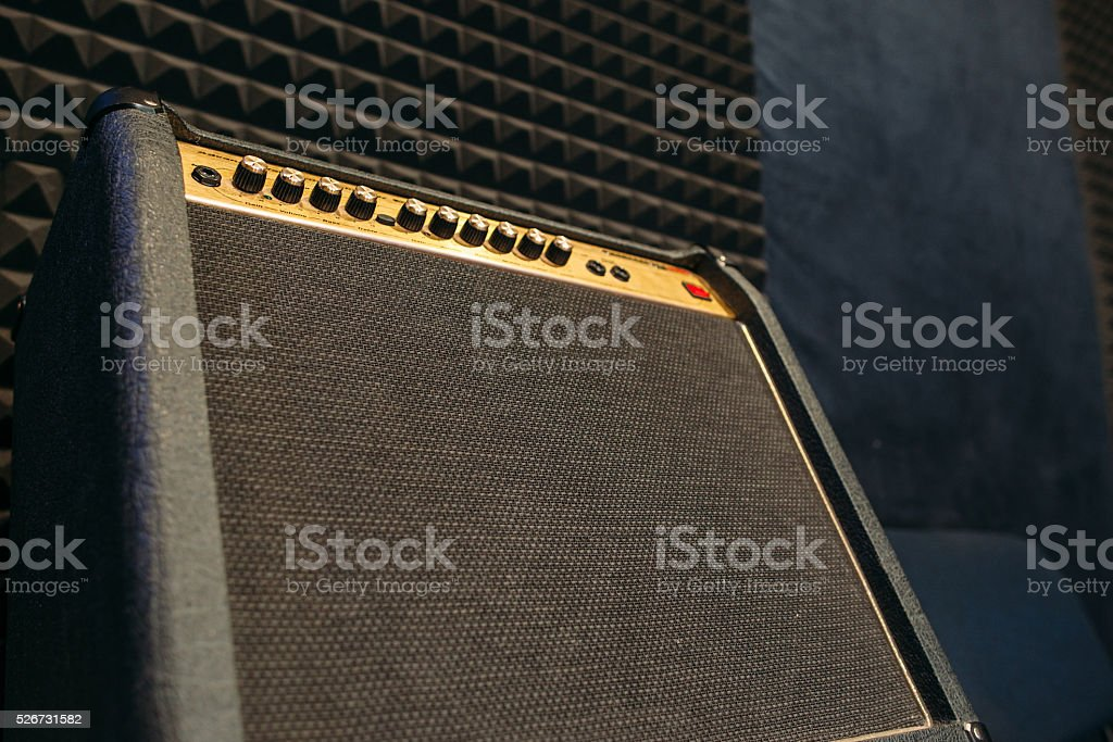 Electric guitar amplifier closep with free spce stock photo