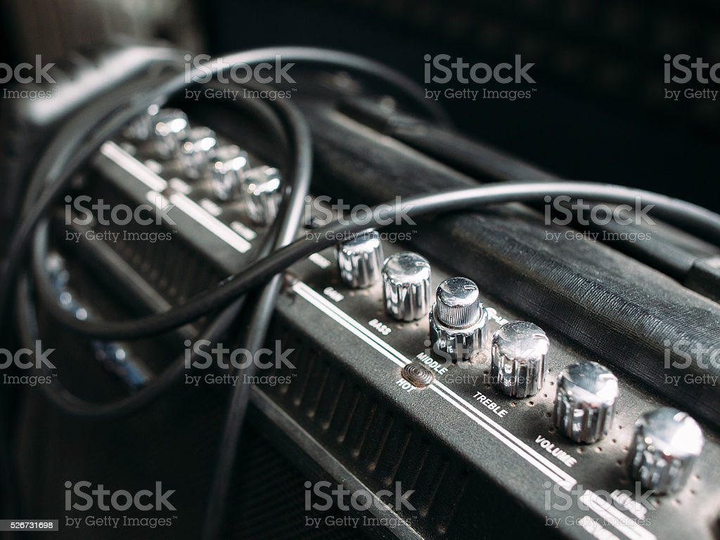 Electric guitar amplifier knobs closep stock photo