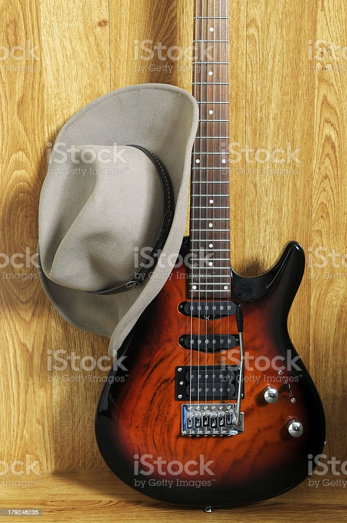 Electric Guitar and hat stock photo