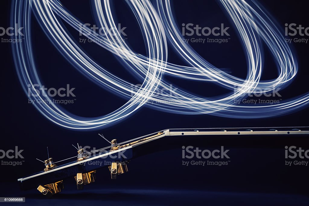 Electric Guitar and Light Effects stock photo