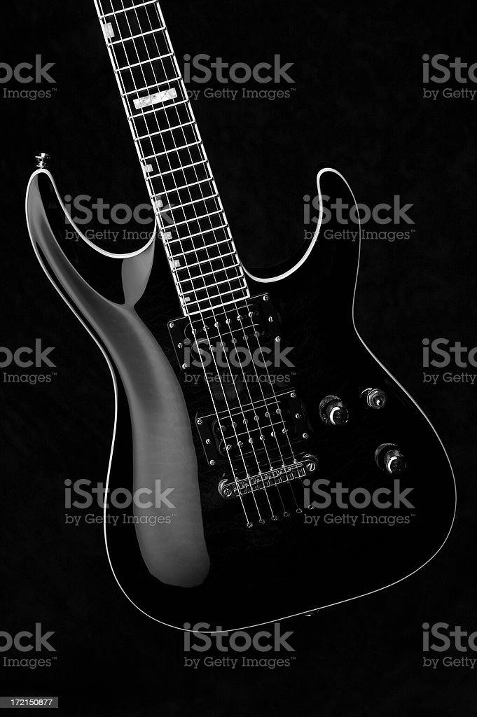 Electric Guitar black & white royalty-free stock photo