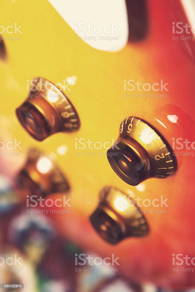 electric guitar knobs stock photo
