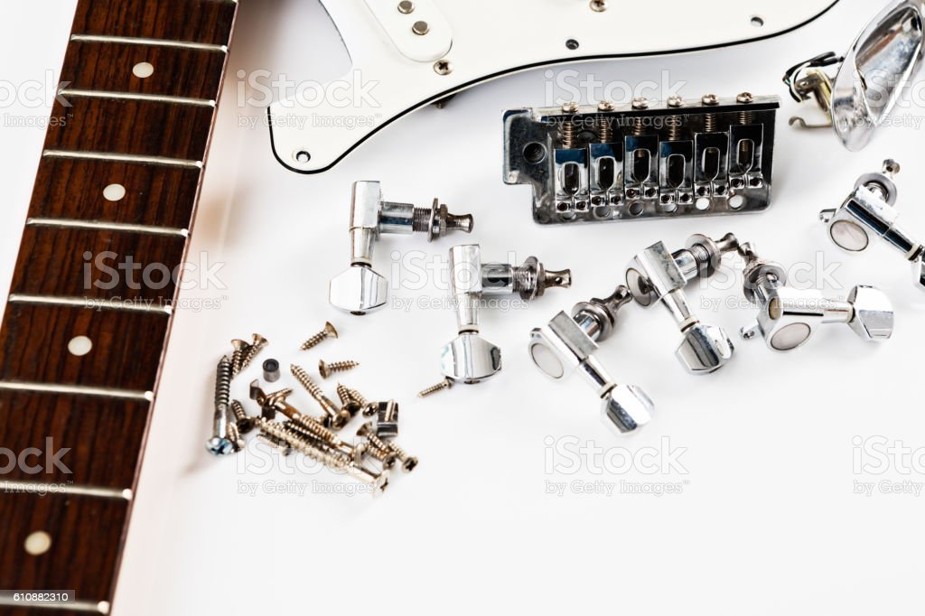Electric guitar parts, ready to assemble stock photo