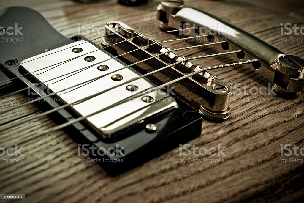 Electric guitar pick up stock photo