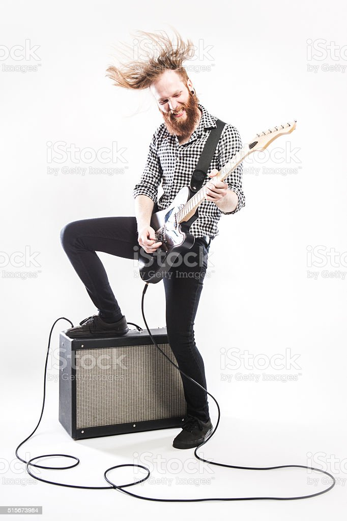 Electric Guitarist on White Background stock photo