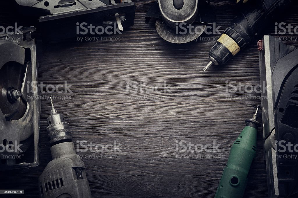 Electric hand tools stock photo