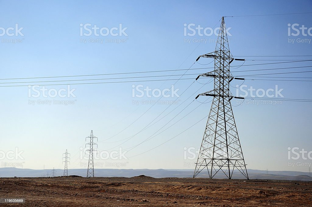 electric high voltage power post royalty-free stock photo
