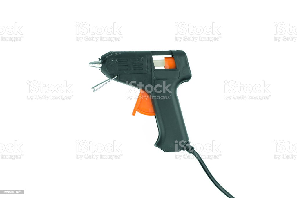 Electric hot glue gun isolated on white stock photo