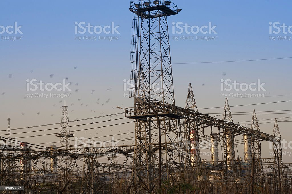 Electric Industry over blue sky. stock photo