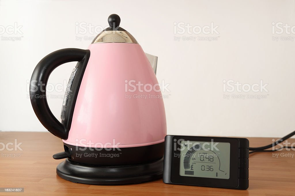 electric kettle and energy monitor showing usage royalty-free stock photo