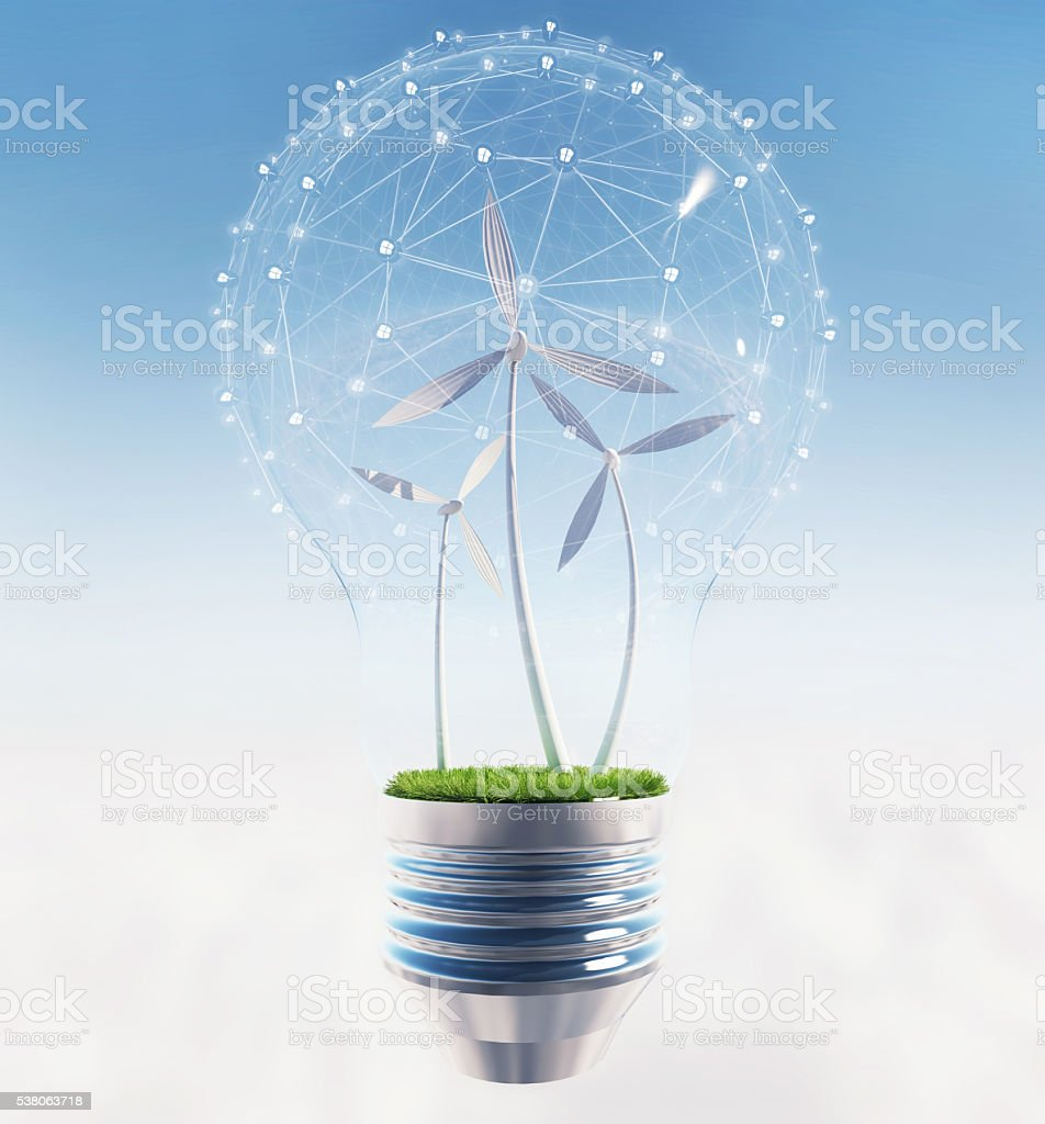 Electric light bulb and wind meels. stock photo