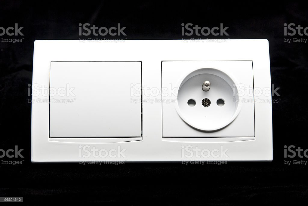 electric light switch and socket combination royalty-free stock photo